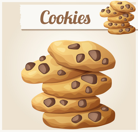 choc: Choc chip cookies 2. Detailed vector icon. Series of food and drink and ingredients for cooking. Illustration