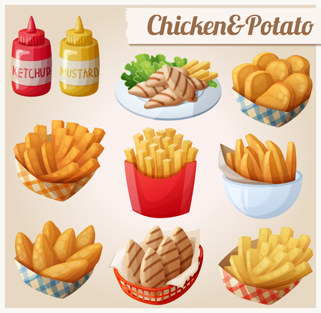 Chicken and potato. Set of cartoon vector food icons. Ketchup, mustard, grilled chicken strips, french fries, chicken fingers, sweet potato fries, nuggets Çizim