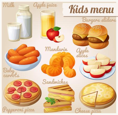 Kinder menu. Set van cartoon vector voedsel pictogrammen. Melk, appelsap, hamburger sliders, baby wortelen, mandarijntjes, appelschijfjes, pepperoni en kaas pizza, gegrilde sandwich beten