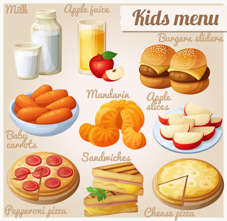 Kids menu. Set of cartoon vector food icons. Milk, apple juice, burger sliders, baby carrots, mandarin oranges, apple slices, pepperoni and cheese pizza, grilled sandwich bites