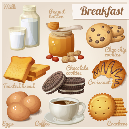 bake: Breakfast 3. Set of cartoon vector food icons. Milk, peanut butter, choc chip cookies, toasted bread, chocolate cookies, croissant, eggs, coffee, crackers Illustration