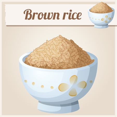 brown rice: Bowl of brown rice. Detailed Vector Icon. Series of food and drink and ingredients for cooking. Illustration