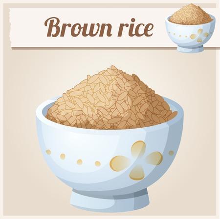 Kom bruine rijst. Gedetailleerde Vector Icon. Serie van eten en drinken en ingrediënten voor het koken.