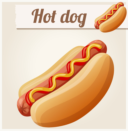 frankfurter: Hot dog. Detailed vector icon. Series of food and drink and ingredients for cooking. Illustration