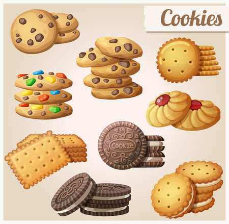 Cookies. Set of cartoon vector food icons. Vettoriali
