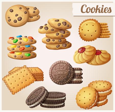 galletas: Galletas. Conjunto de iconos de los alimentos vector de dibujos animados. Vectores