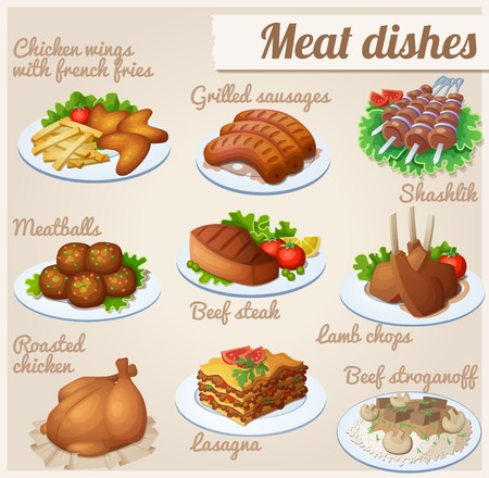 Chicken wings with french fries, grilled sausages, shashlik, meatballs, beef steak, lamb chops roasted chicken lasagna beef stroganoff