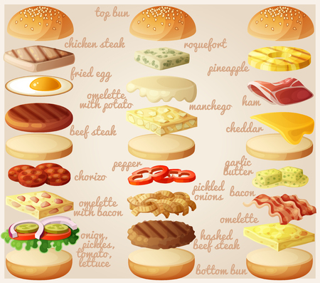 Burgers set. Ingredients: buns, cheese, bacon, tomato, onion, lettuce, cucumbers, pickle onions, beefs, ham. Vector illustration. Stock Illustratie
