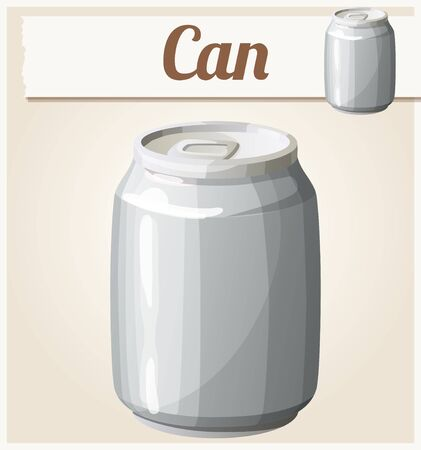 icon series: Empty can without label. Detailed vector icon. Series of food and drink and ingredients for cooking. Illustration