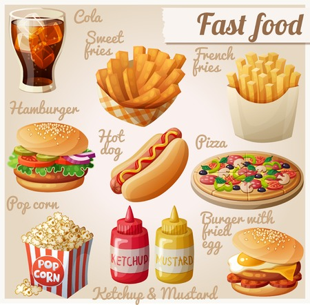 Fast food. Set of cartoon vector food icons. Ketchup, mustard, glass of cola, french fries, hamburger, sweet potato fries, burger with fried egg, pop corn, hot dog, pizza