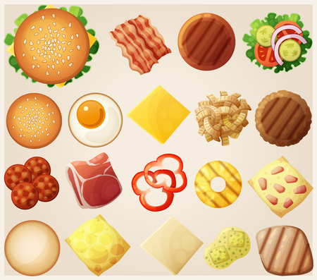 Burgers set. Top view. Ingredients: buns, cheese, bacon, tomato, onion, lettuce, cucumbers, pickle onions, beefs, ham. Vector illustration. Vettoriali