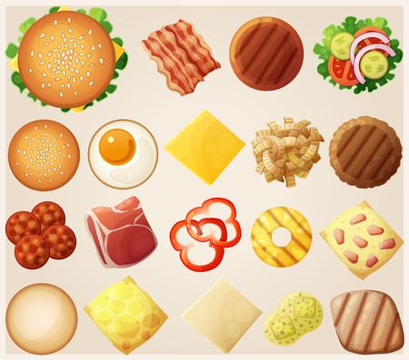 bollos: Hamburguesas conjunto. Vista superior. Ingredientes: bollos, queso, tocino, tomate, cebolla, lechuga, pepinos, cebollas en vinagre, beefs, jamón. Ilustración del vector.