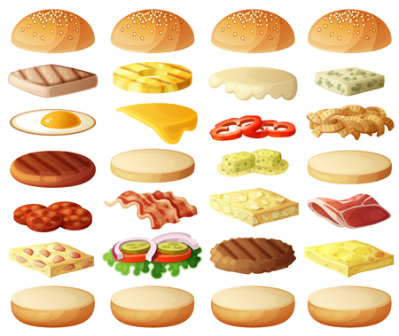 Burgers set. Ingredients: buns, cheese, bacon, tomato, onion, lettuce, cucumbers, pickle onions, beefs, ham. Vector icons isolated on white background