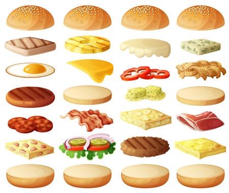 jamon y queso: Hamburguesas conjunto. Ingredientes: bollos, queso, tocino, tomate, cebolla, lechuga, pepinos, cebollas en vinagre, beefs, jamón. Los iconos del vector aislados sobre fondo blanco