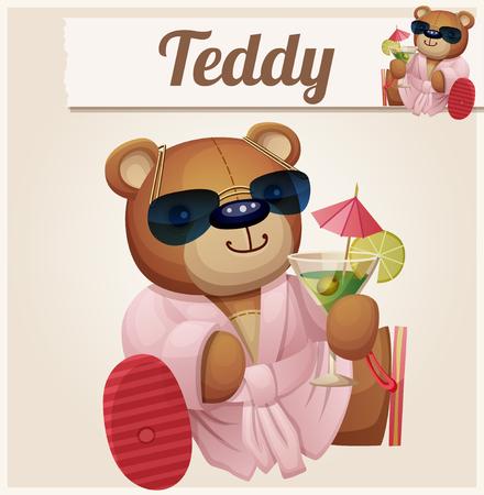 bathrobe: Teddy bear in resort. Cartoon vector illustration. Series of childrens toys