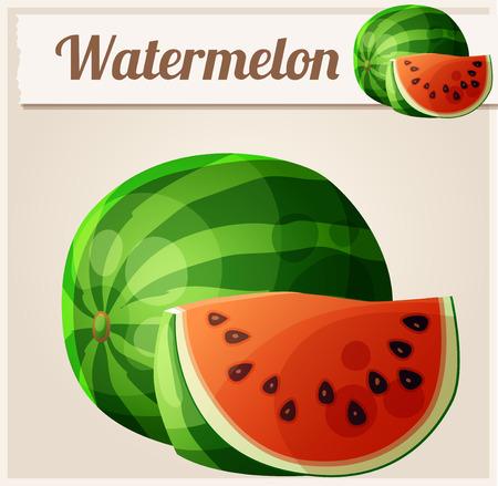 Watermeloen. Cartoon vector icon. Serie van eten en drinken en ingrediënten voor het koken. Stockfoto - 53800318