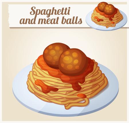 Spaghetti met groene pesto. Gedetailleerde Vector Icon. Reeks van eten en drinken en ingrediënten voor het koken.