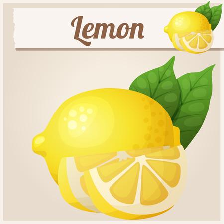limon caricatura: Limón. icono de vector de la historieta. Serie de alimentos y bebidas y los ingredientes para cocinar. Vectores