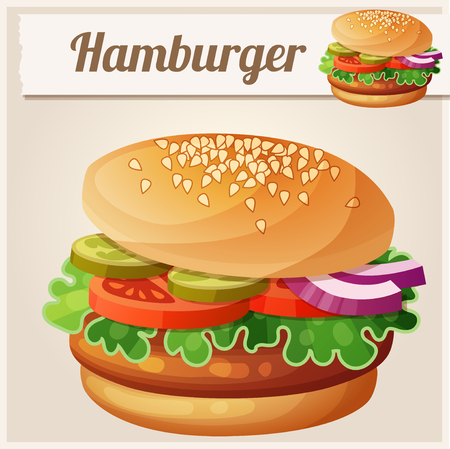 icon series: Hamburger. Detailed vector icon. Series of food and drink and ingredients for cooking.