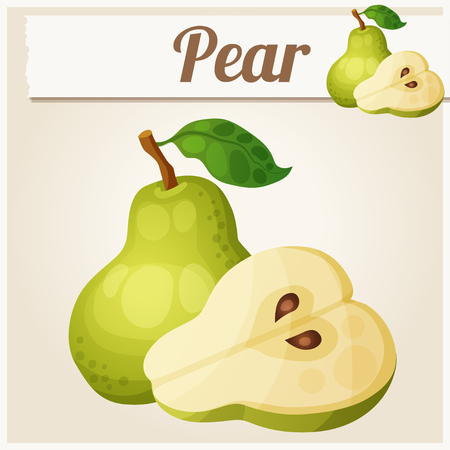 sliced fruit: Green pear.  Cartoon icon. Series of food and drink Illustration
