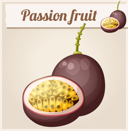 passion: Passion fruit (Maracuja).  Cartoon icon. Series of food and drink