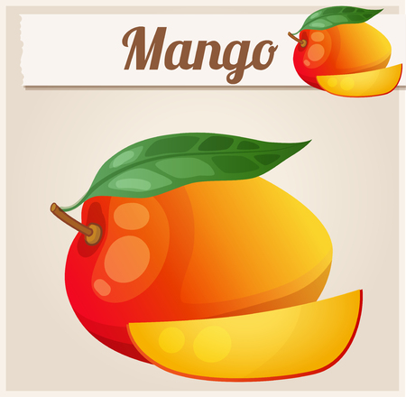 icon series: Mango.  Cartoon icon. Series of food and drink