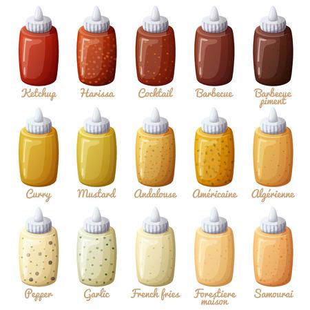 Sauzen in te stellen. Ketchup, mosterd, harissa, cocktail, barbecue, curry, andalouse, peper, knoflook. iconen op een witte achtergrond