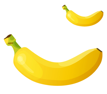 banana caricatura: Plátano. detallado icono aislado sobre fondo blanco. Serie de alimentos y bebidas y los ingredientes para cocinar.