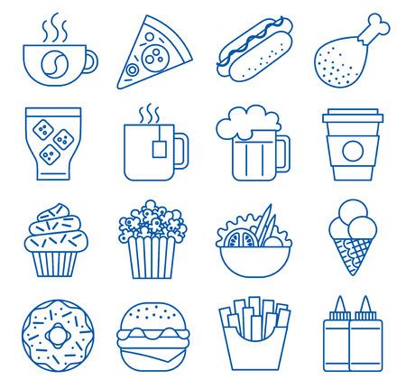 Fast food. Définir des icônes de ligne. illustration Vecteurs