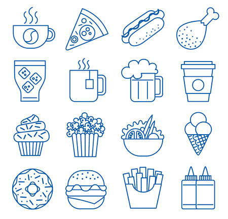 Fast food. Set of line icons. illustration