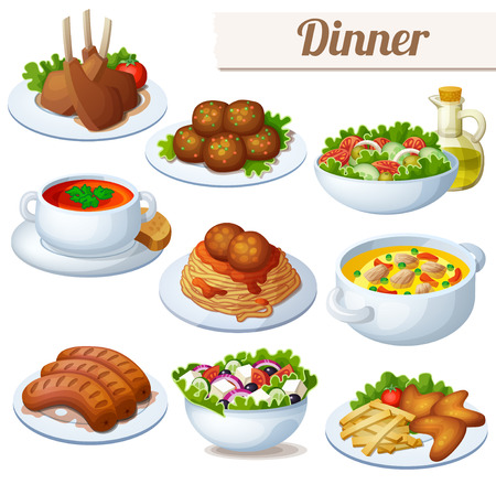 dishes set: Set of food icons isolated on white background. Dinner. Lamb chops, spaghetti with meat balls, salad with olive oil, cream soup, bollion, grilled sausages, greek salad, chicken wings