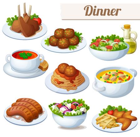 Zestaw ikon żywności samodzielnie na białym tle. Obiad. Kotleciki jagnięce, spaghetti z kulkami mięsnymi, sałatki z oliwą z oliwek, zupa krem, bollion, grillowane kiełbaski, sałatka grecka, skrzydełka kurczaka