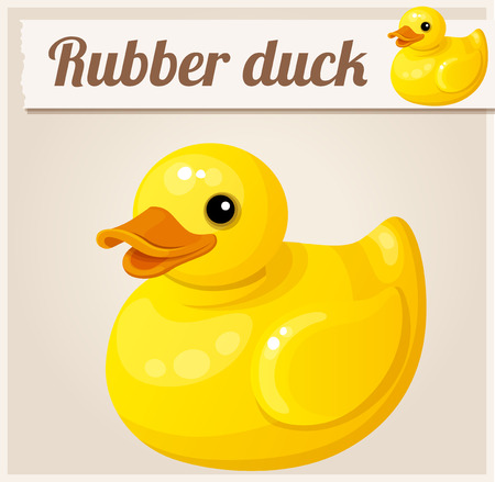 ducky: Yellow rubber duck. Cartoon illustration. Series of childrens toys