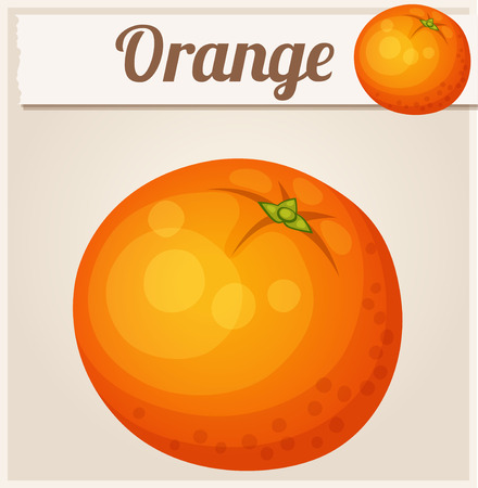 orange fruit: Orange fruit. Cartoon Icon. Series of food and drink and ingredients for cooking. Illustration