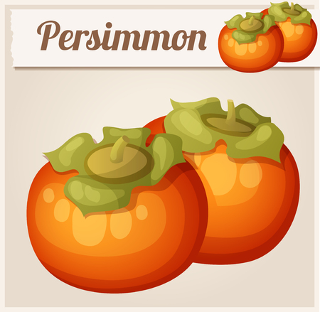 Persimmon fruit. Cartoon icon. Series of food and drink and ingredients for cooking.