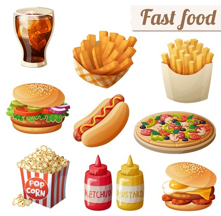 Fast food. Set of cartoon food icons isolated on white background. Ketchup, mustard, glass of cola, french fries, hamburger, sweet potato fries, burger with fried egg, pop corn, hot dog, pizza