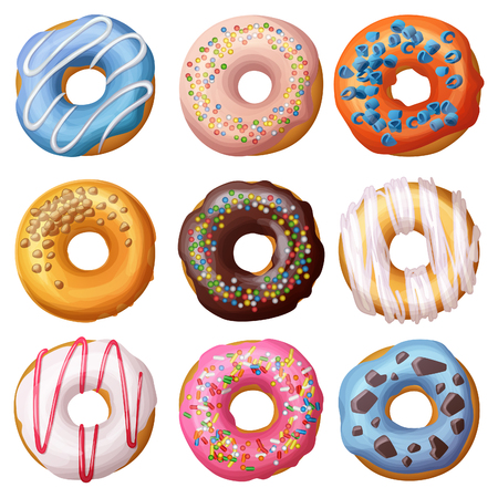 Set of cartoon donuts isolated on white background.