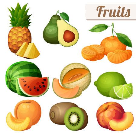ananas: Set of food icons isolated on white background. Fruits. Pineapple (ananas), avocado, mandarin (tangerine), watermelon, melon (cantaloupe) , lime, peach, nectarine