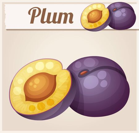 prune: Plum fruit. Cartoon icon. Series of food and drink and ingredients for cooking. Illustration