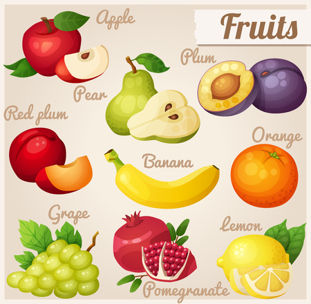 banana leaves: Fruits. Red apple, pear, violet plum, red plum, banana, orange, grape, pomegranate, lemon Illustration