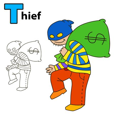 burglar: Thief. Coloring book page