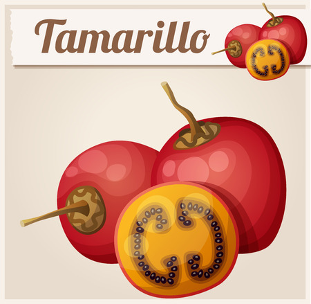 icon series: Tamarillo fruit. Cartoon icon. Series of food and drink and ingredients for cooking.