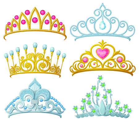 shiny heart: Set of princess crowns (Tiara) isolated on white