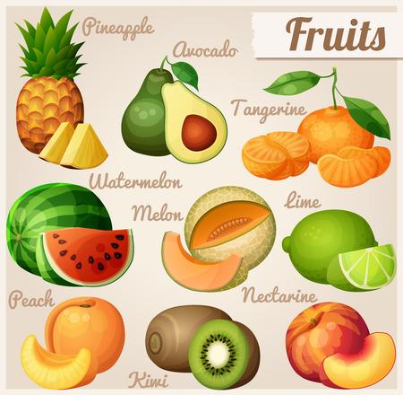 Conjunto de iconos de alimentos. Frutas. La piña (Ananas), aguacate, mandarina (mandarina), sandía, melón (melón), limón, melocotón, nectarina