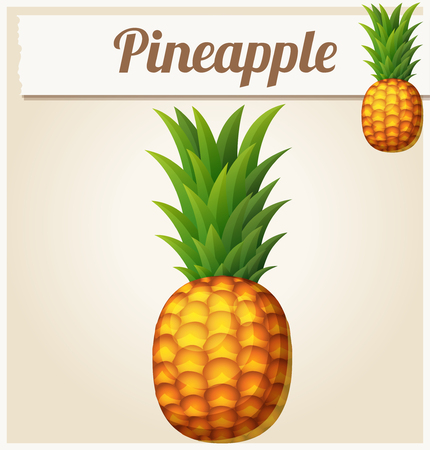 Pineapple (Ananas). Cartoon vector icon. Series of food and drink and ingredients for cooking.