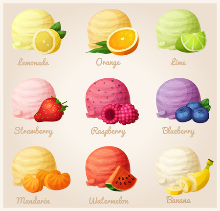 Set of cartoon vector icons. Ice cream scoops with different fruit flavors. Lemon, orange, lime, strawberry, raspberry, blueberry, mandarine, watermelon, banana