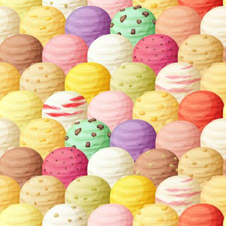 Ice cream scoops seamless pattern. Vector illustration