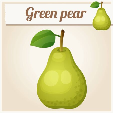 icon series: Green pear.  Cartoon vector icon. Series of food and drink