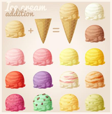Conjunto de iconos de helado de dibujos animados. bolas de helado y cono de galleta. Diferentes colores y favores Ilustración de vector