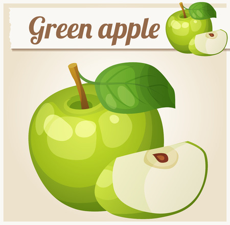 icon series: Green apple.  Cartoon vector icon. Series of food and drink